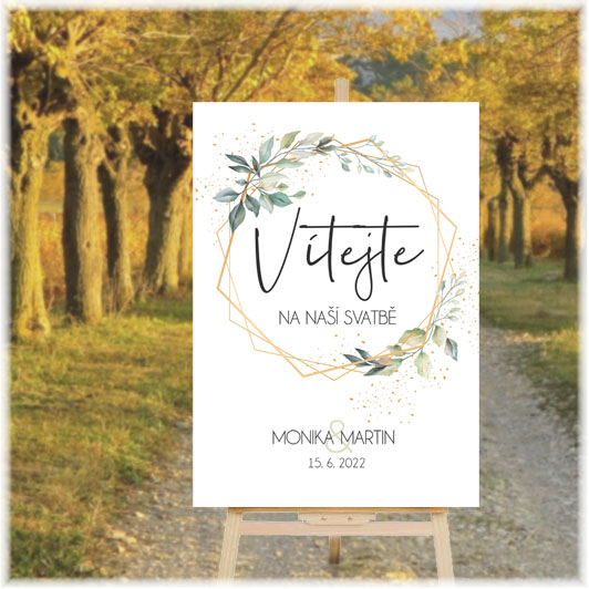 Wedding welcome sign with branches