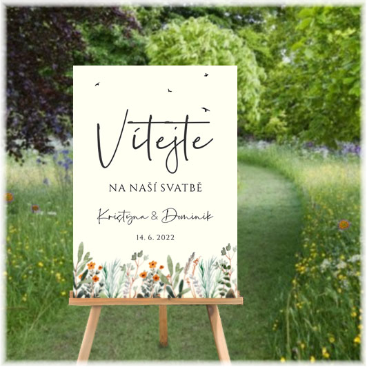 Wedding welcome sign with meadow flowers