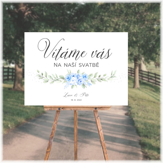 Wedding welcome sign with blue flowers