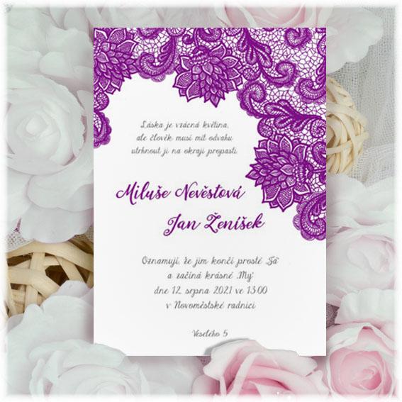 Violet Lace Wedding invitation
