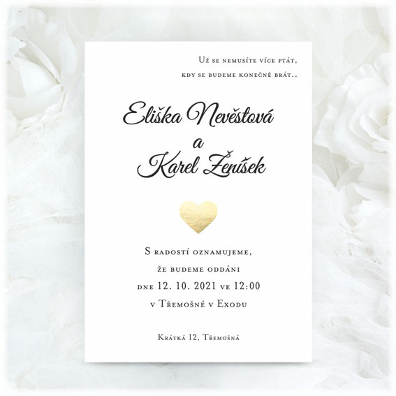Wedding invitation with golden heart