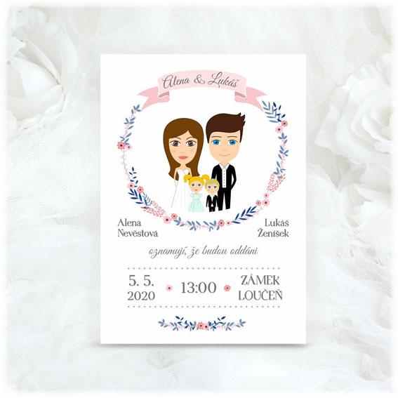 Svatební oznámení s postavičkami