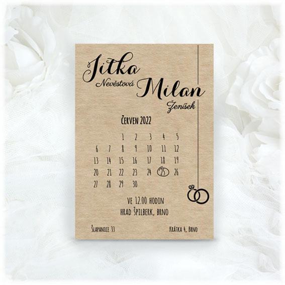 Svatební oznámení kalendář