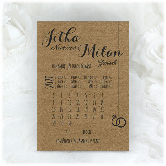 Craft wedding invitation with calendar