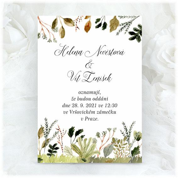 Svatební oznámení s přírodním motivem