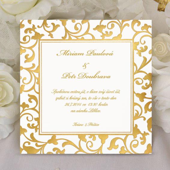 Svatební oznámení se zlatým rámečkem