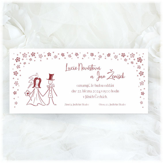 Simple Wedding Invitations bride and groom flowers