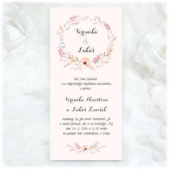 Svatební oznámení květinový věnec