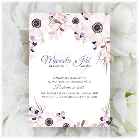 Svatební oznámení květinové - anemonky
