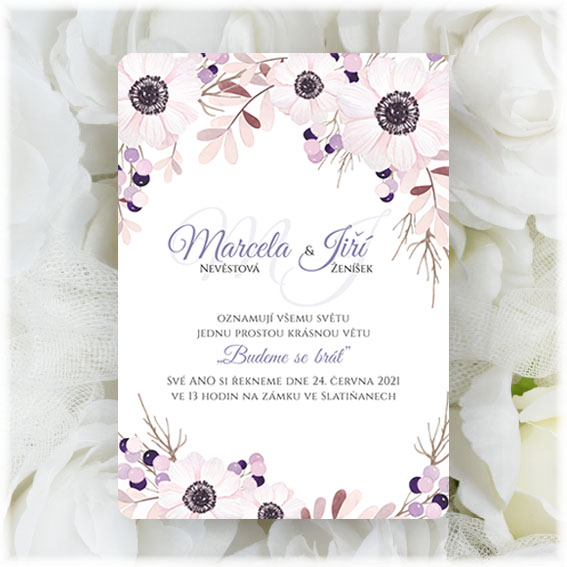 Anemone Flowers Wedding Invitation