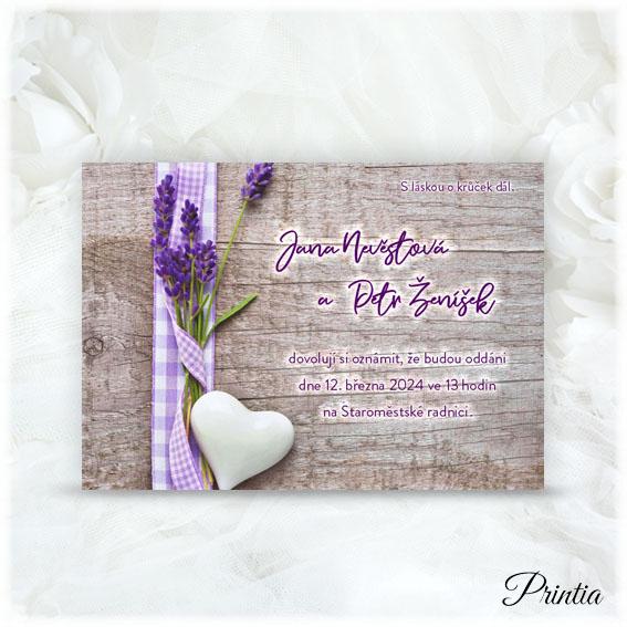 Lavender wedding invitation.