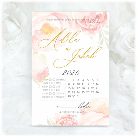 Calendar wedding invitation with watercolor flowers