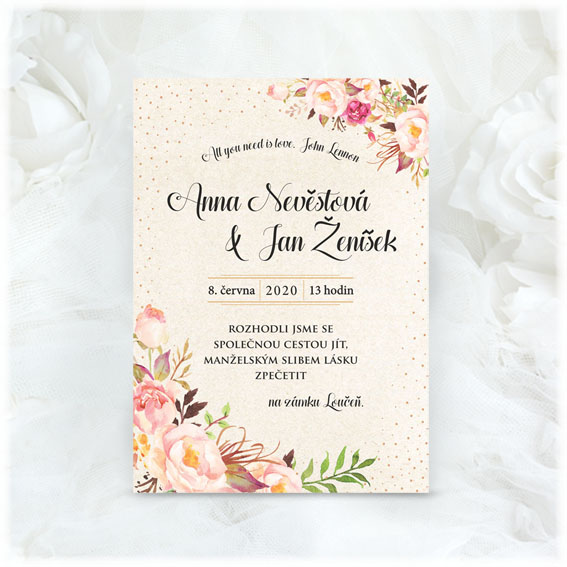 Svadobné oznámenie kvetinove