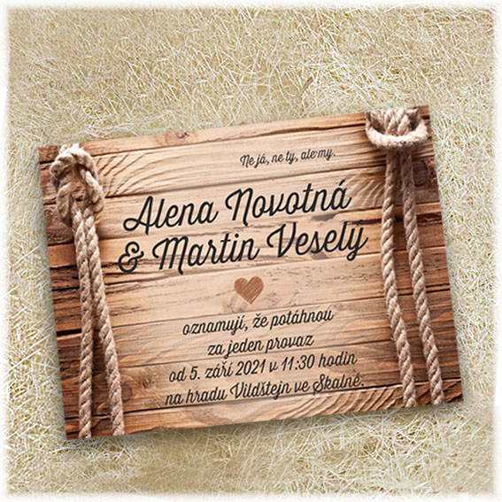 Wedding announcements ropes and wood