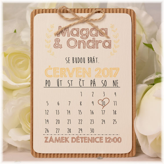 Vintage wedding invitation in the form of a calendar in hipster style