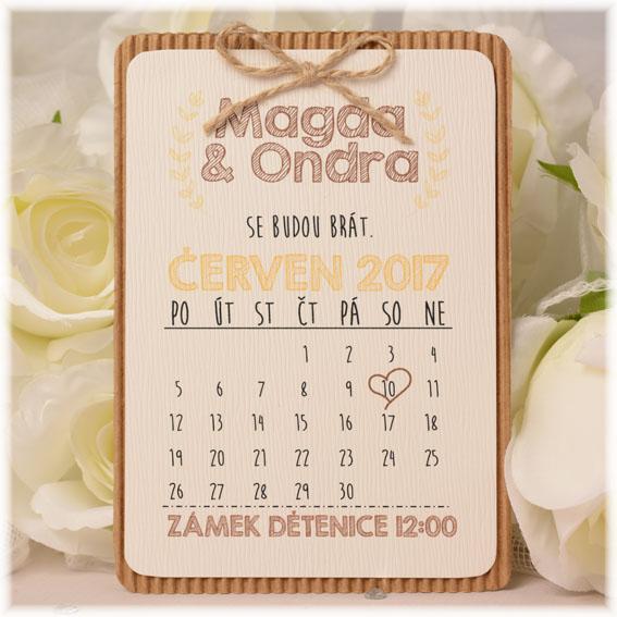 Vintage svatební oznámení v podobě kalendáře v hipster stylu