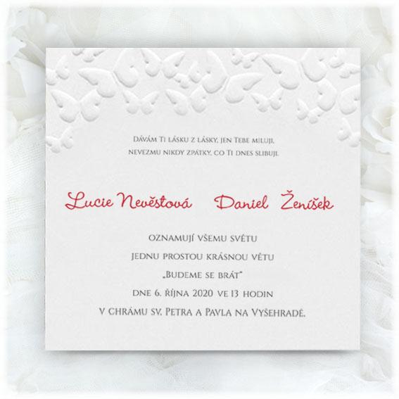 Svatební oznámení motýli
