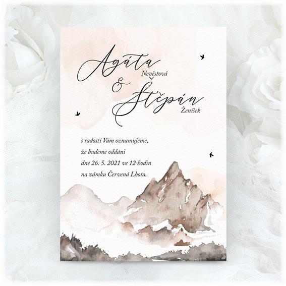 Svatební oznámení s horami