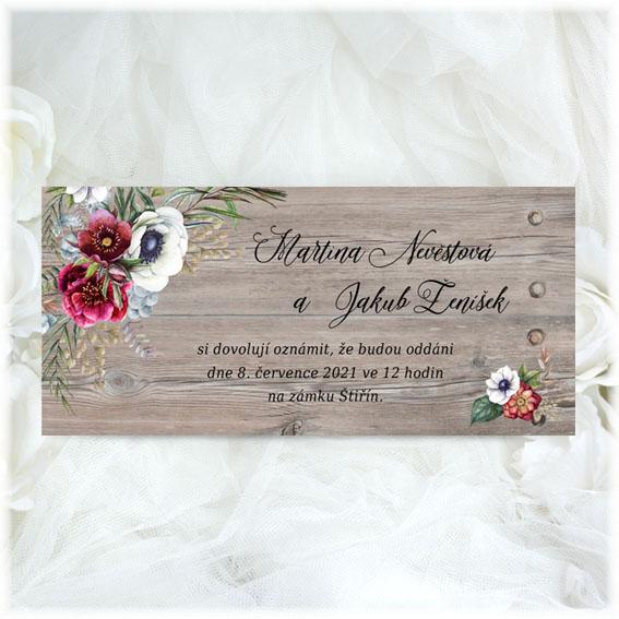Svatební oznámení anemonky