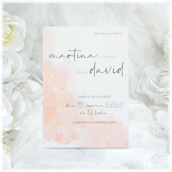 Wedding invitation in apricot color