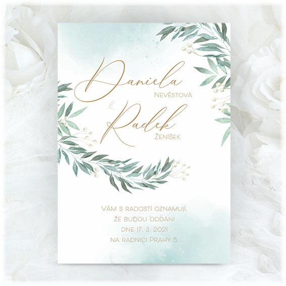 Wedding invitation with green branches