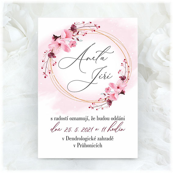 Wedding invitation with cherry blossoms