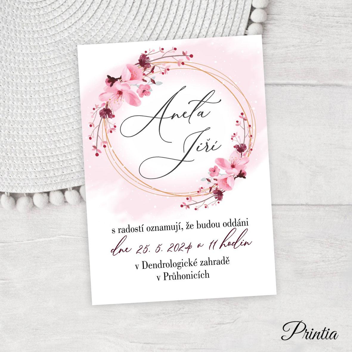 Svatební oznámení s květy třešní