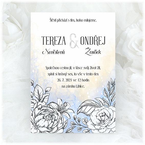 Svatební oznámení s kresbou květin
