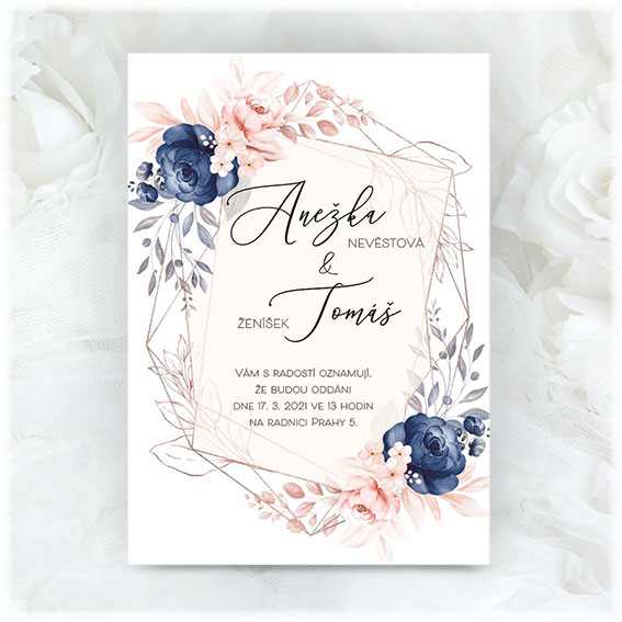 Blue-pink wedding invitation