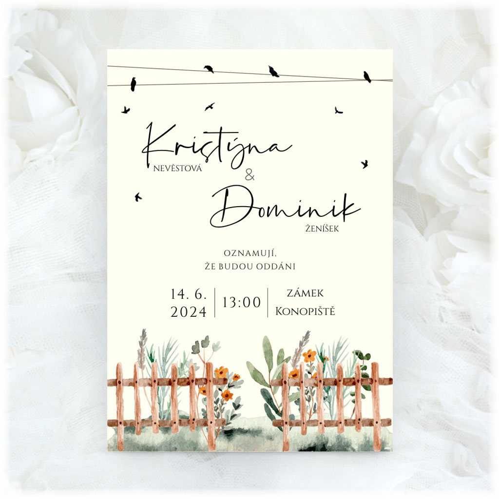 Wedding invitation with flowers behind the fence