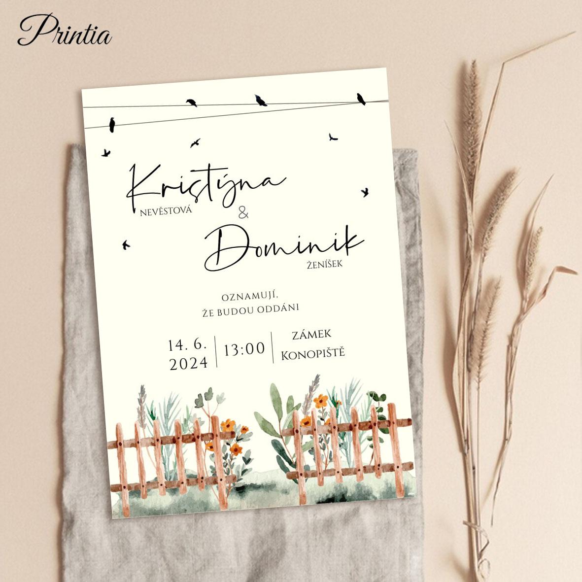 Svatební oznámení s květinami za plotem
