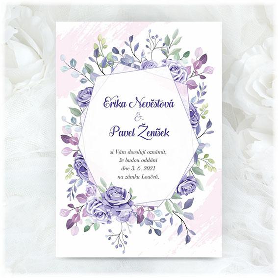 Svadobné oznámenie s fialovými kvetmi