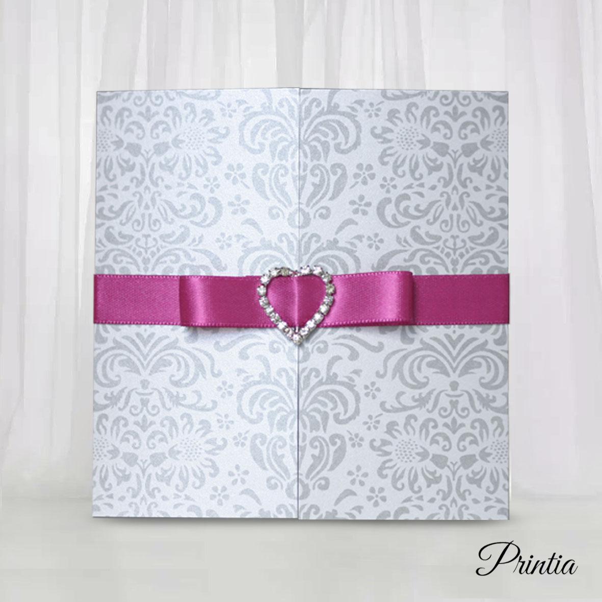 Wedding Invitations with silver grey ornaments