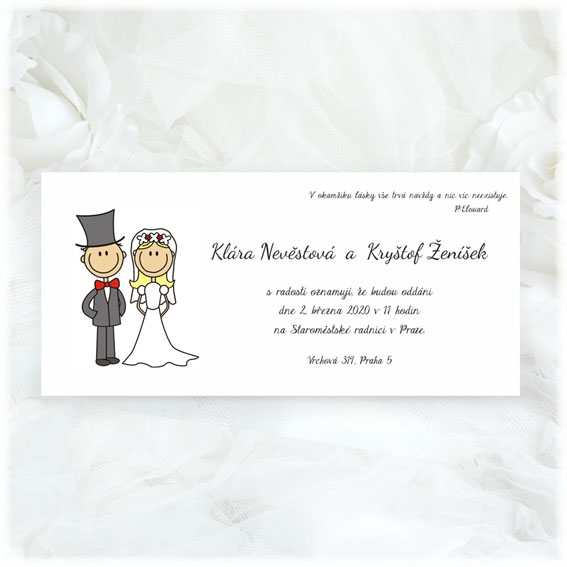 Wedding Invitations cartoons bride and groom
