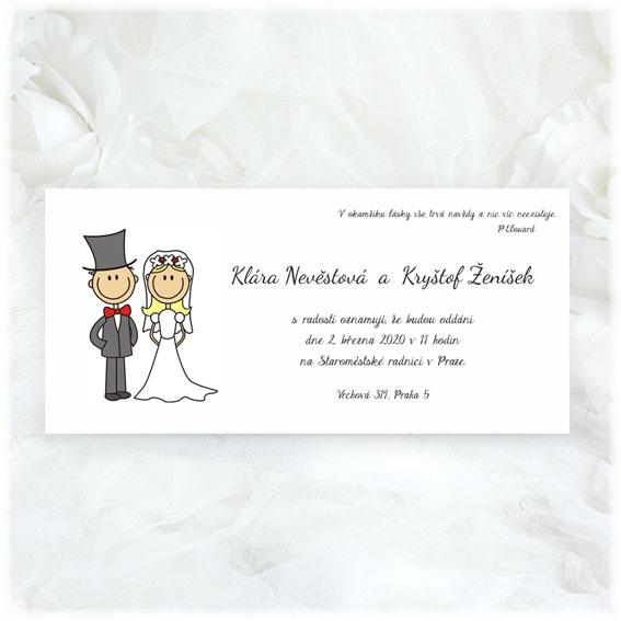 Svatební oznámení s postavičkami ženich a nevěsta