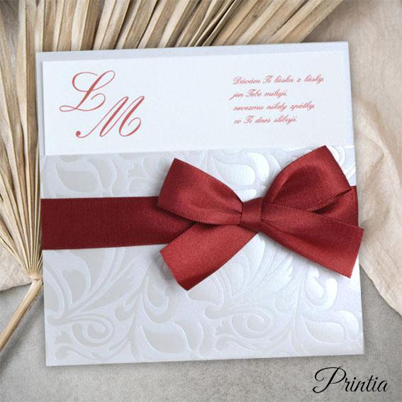 Bordó svadobné oznámenie s mašľou