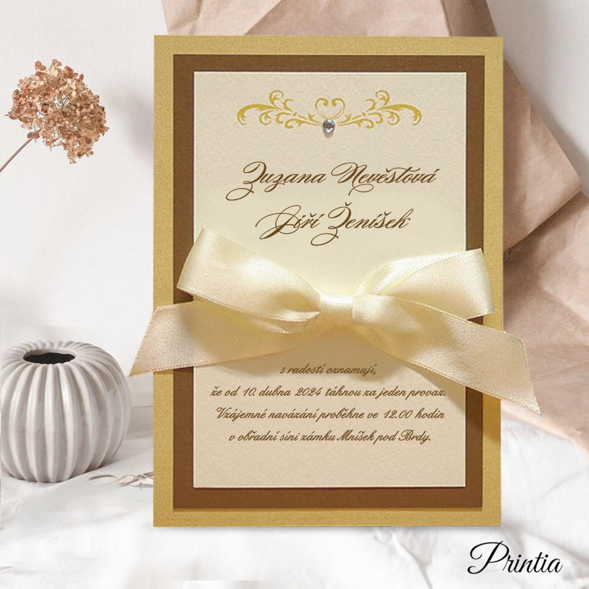Svatební oznámení s mašlí a kamínkem