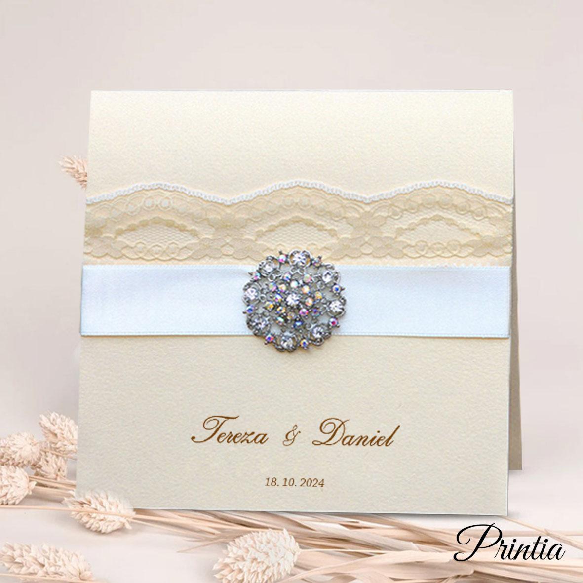 Luxusní svatební oznámení s krajkou