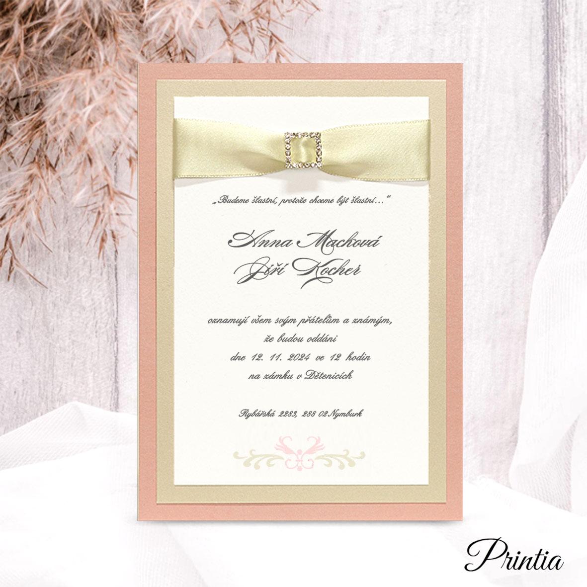 Svatební oznámení s ozdobnou přezkou