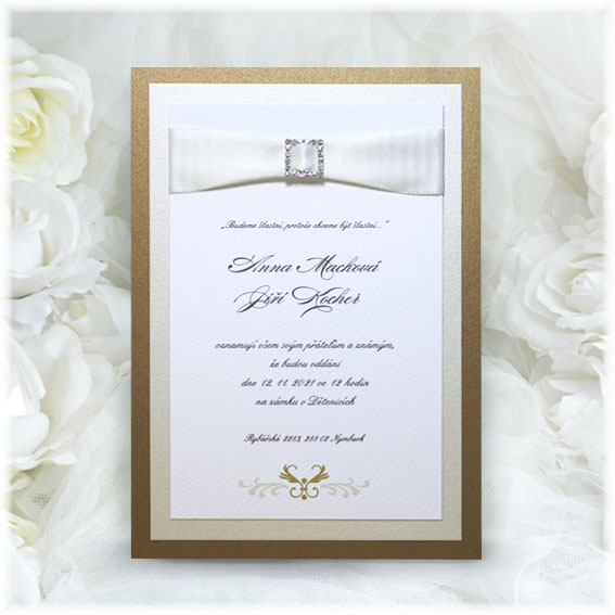 Brow luxury Wedding Invitations with buckle and ribbon