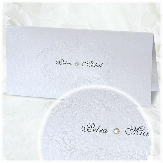 Jednoduché svatební oznámení s ornamentem a kamínkem