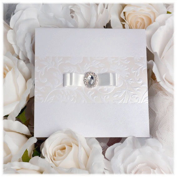 Wedding Invitations with buckle and double ribbon bow