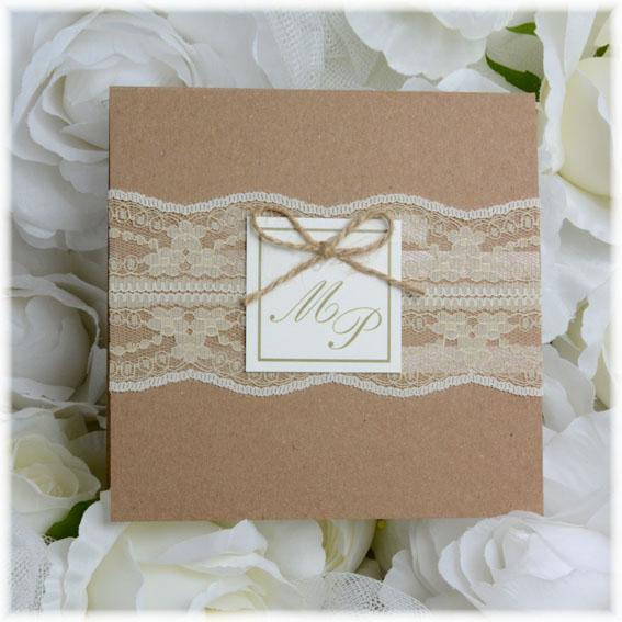 Svatební oznámení s krajkou vintage