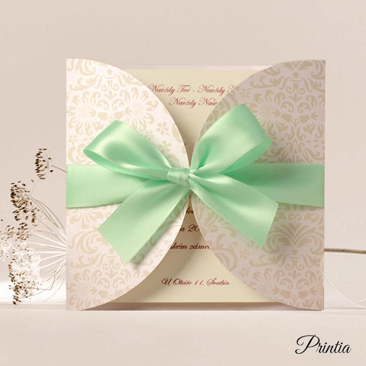 Exkluzivní svatební oznámení s mintovou stuhou