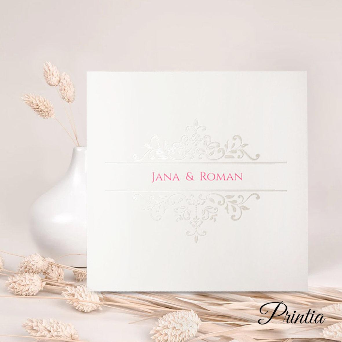 Elegantní svatební oznámení  s lesklými ornamenty