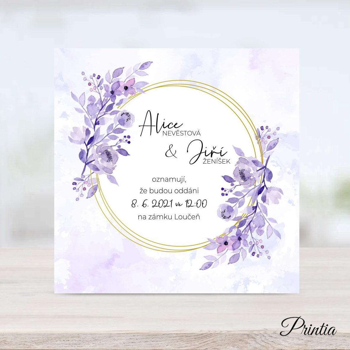Fialové svatební oznámení