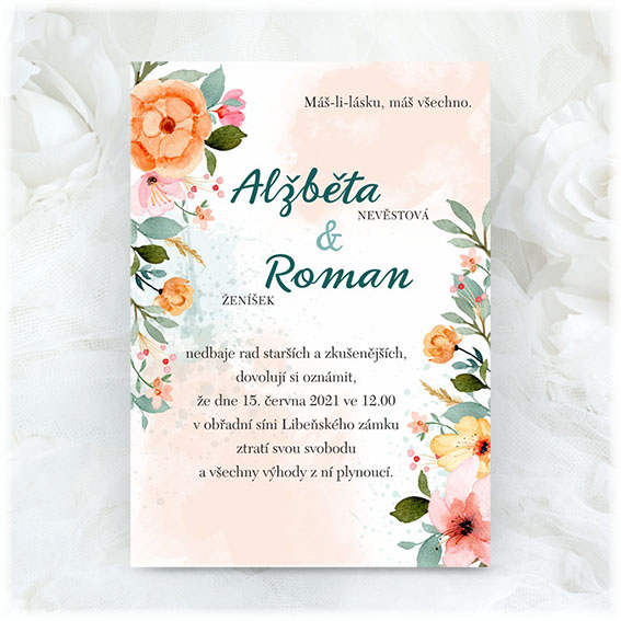 Wedding invitation with colorful flowers