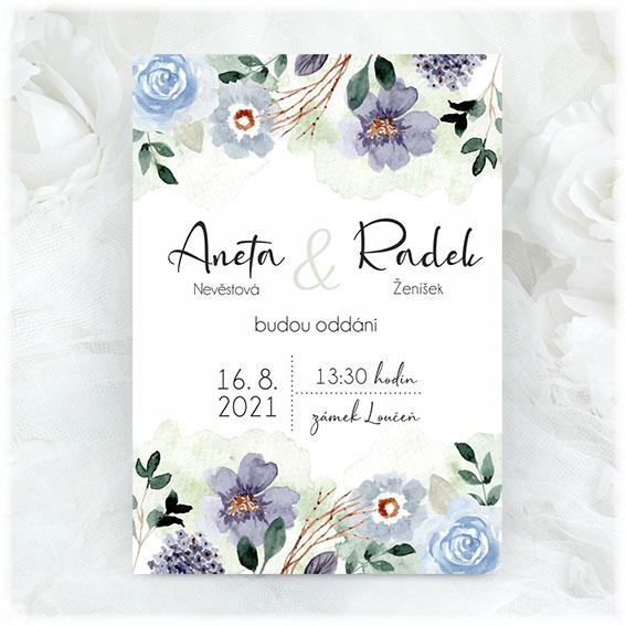 Wedding invitation with blue flowers