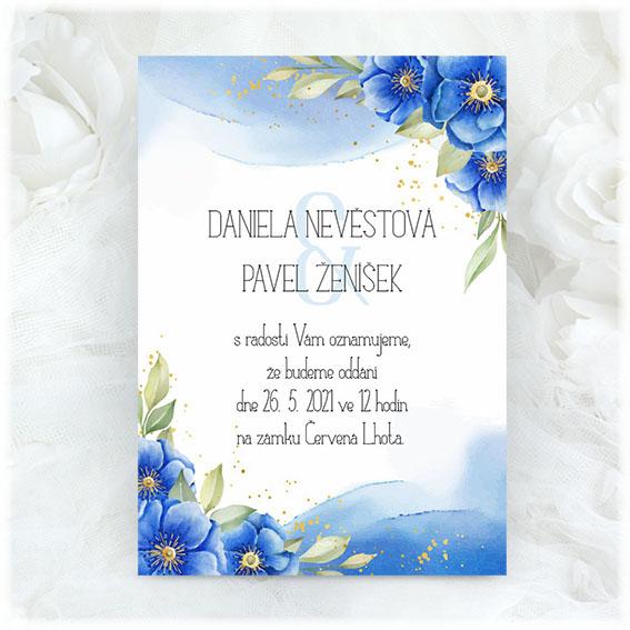 Modré svatební oznámení