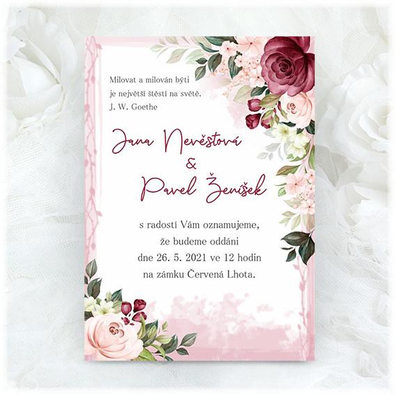 Bordó svatební oznámení